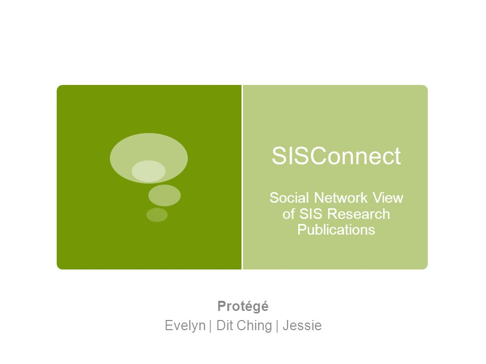 Social Network View of SIS Research Publications Protégé Evelyn | Dit Ching | Jessie SISConnect