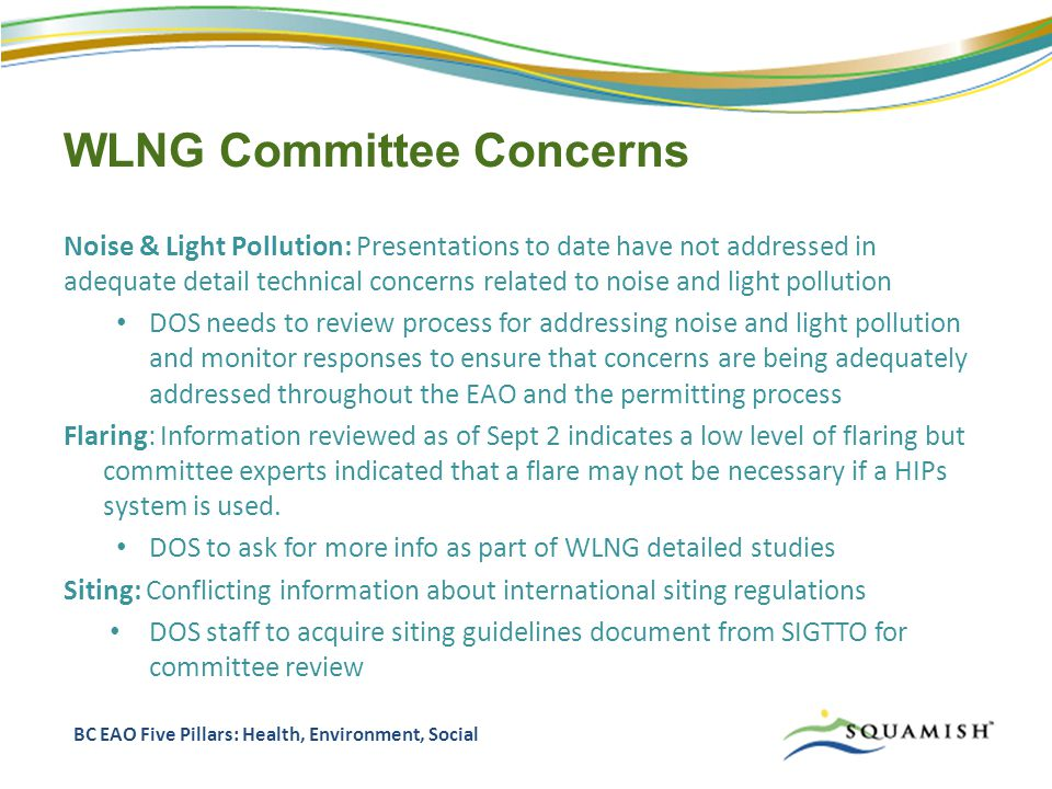 WLNG Committee Concerns Noise & Light Pollution: Presentations to date have not addressed in adequate detail technical concerns related to noise and light pollution DOS needs to review process for addressing noise and light pollution and monitor responses to ensure that concerns are being adequately addressed throughout the EAO and the permitting process Flaring: Information reviewed as of Sept 2 indicates a low level of flaring but committee experts indicated that a flare may not be necessary if a HIPs system is used.