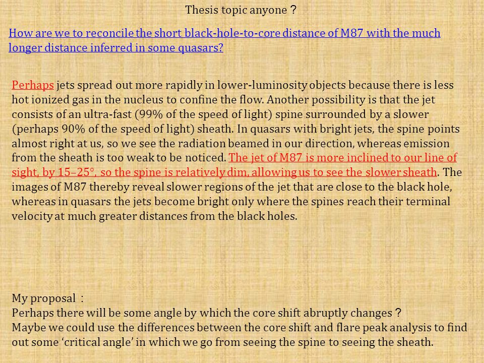 Thesis topic anyone ? How are we to reconcile the short black-hole-to-core distance of M87 with the much longer distance inferred in some quasars.