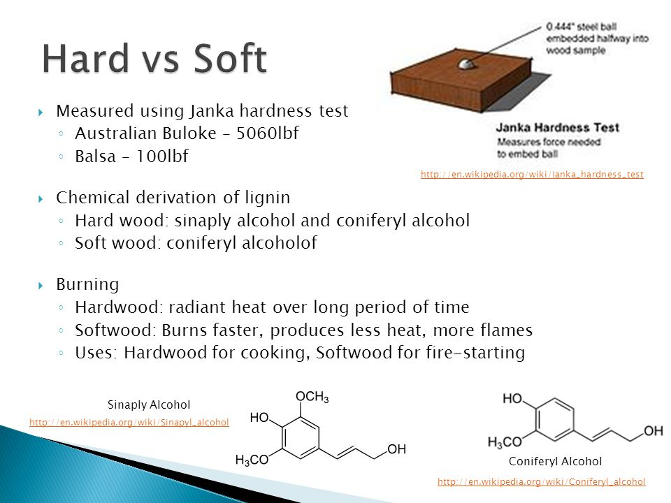  Measured using Janka hardness test ◦ Australian Buloke – 5060lbf ◦ Balsa – 100lbf  Chemical derivation of lignin ◦ Hard wood: sinaply alcohol and coniferyl alcohol ◦ Soft wood: coniferyl alcoholof  Burning ◦ Hardwood: radiant heat over long period of time ◦ Softwood: Burns faster, produces less heat, more flames ◦ Uses: Hardwood for cooking, Softwood for fire-starting Sinaply Alcohol http://en.wikipedia.org/wiki/Sinapyl_alcohol Coniferyl Alcohol http://en.wikipedia.org/wiki/Coniferyl_alcohol http://en.wikipedia.org/wiki/Janka_hardness_test
