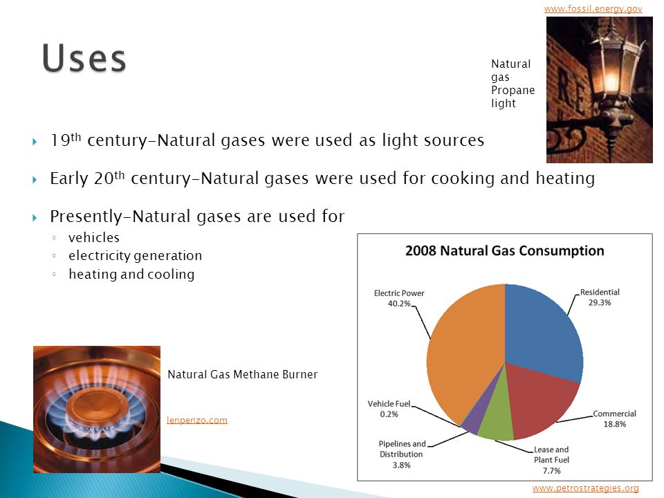  19 th century-Natural gases were used as light sources  Early 20 th century-Natural gases were used for cooking and heating  Presently-Natural gases are used for ◦ vehicles ◦ electricity generation ◦ heating and cooling www.petrostrategies.org lenpenzo.com www.fossil.energy.gov Natural gas Propane light Natural Gas Methane Burner