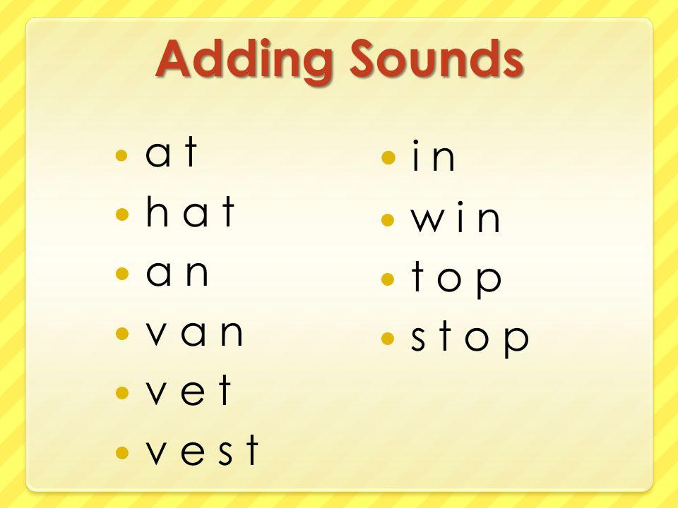 Adding Sounds a t h a t a n v a n v e t v e s t i n w i n t o p s t o p