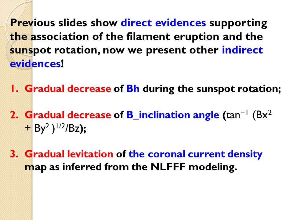 Previous slides show direct evidences supporting the association of the filament eruption and the sunspot rotation, now we present other indirect evidences.