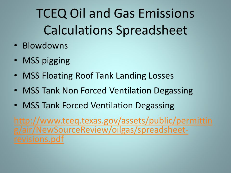 Blowdowns MSS pigging MSS Floating Roof Tank Landing Losses MSS Tank Non Forced Ventilation Degassing MSS Tank Forced Ventilation Degassing http://www