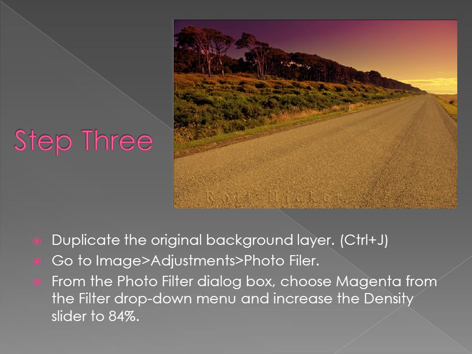  Duplicate the original background layer. (Ctrl+J)  Go to Image>Adjustments>Photo Filer.