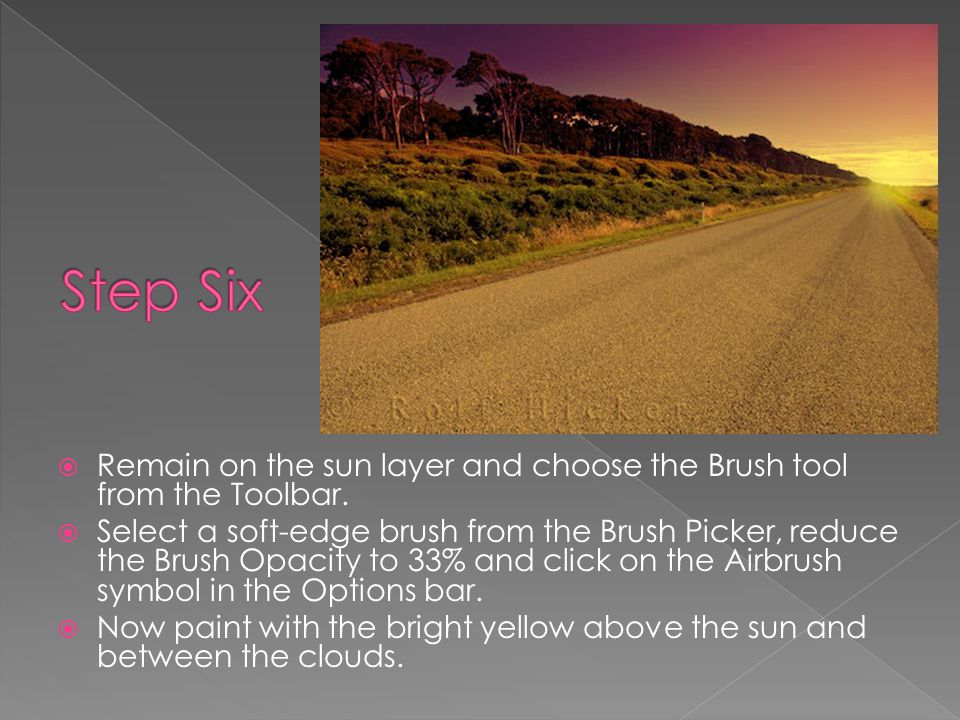  Remain on the sun layer and choose the Brush tool from the Toolbar.  Select a soft-edge brush from the Brush Picker, reduce the Brush Opacity to 33