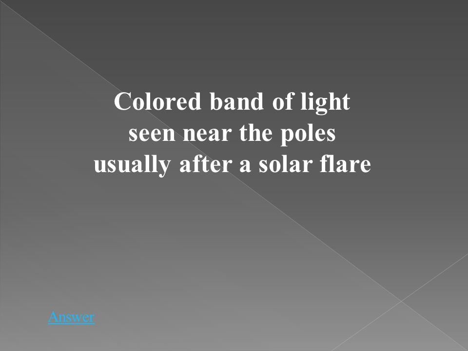 Colored band of light seen near the poles usually after a solar flare Answer