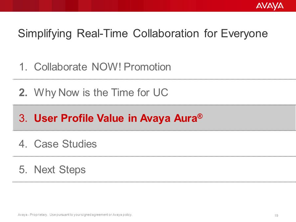 Avaya - Proprietary. Use pursuant to your signed agreement or Avaya policy. 19 Simplifying Real-Time Collaboration for Everyone 1.Collaborate NOW! Pro