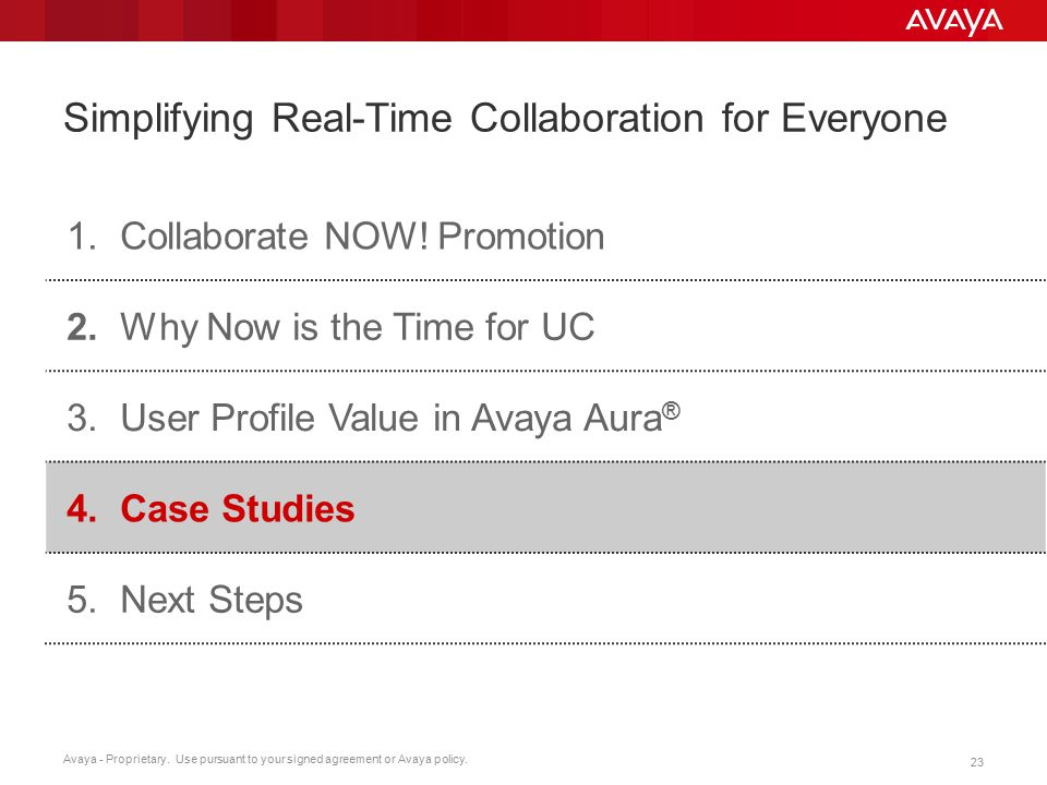 Avaya - Proprietary. Use pursuant to your signed agreement or Avaya policy. 23 Simplifying Real-Time Collaboration for Everyone 1.Collaborate NOW! Pro