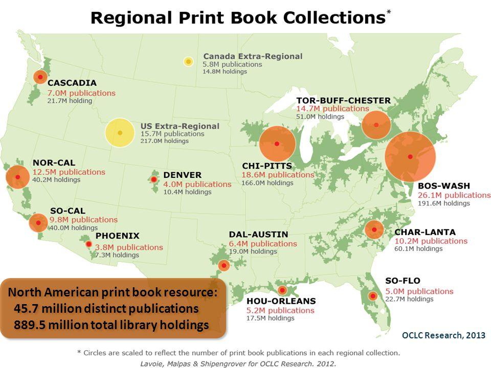 OCLC Research, 2013 North American print book resource: 45.7 million distinct publications 889.5 million total library holdings North American print b