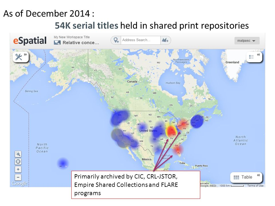 As of December 2014 : 54K serial titles held in shared print repositories Primarily archived by CIC, CRL-JSTOR, Empire Shared Collections and FLARE programs