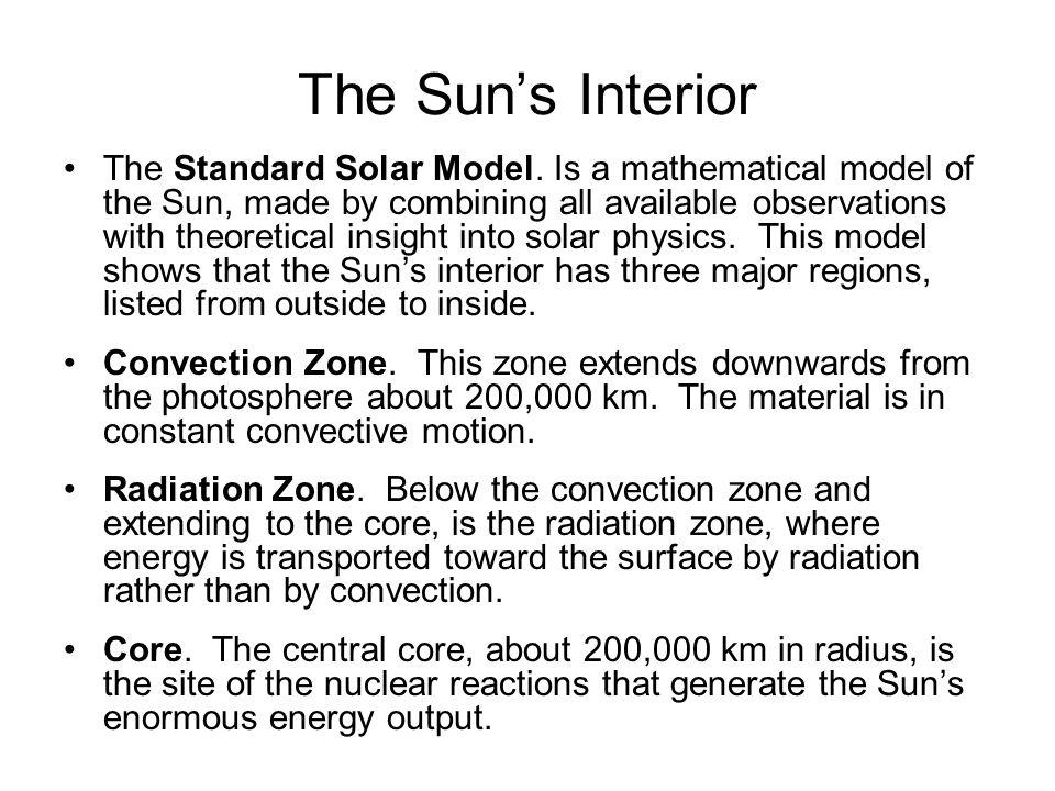 The Sun's Interior The Standard Solar Model.