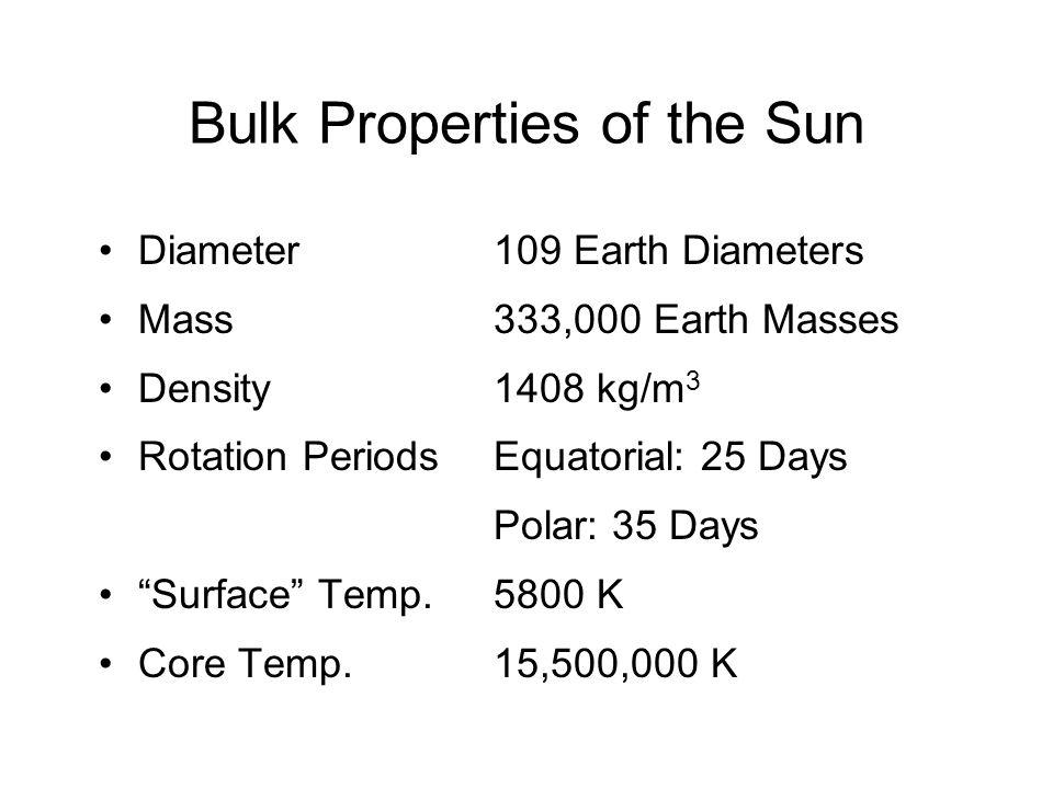 Bulk Properties of the Sun Diameter Mass Density Rotation Periods Surface Temp.