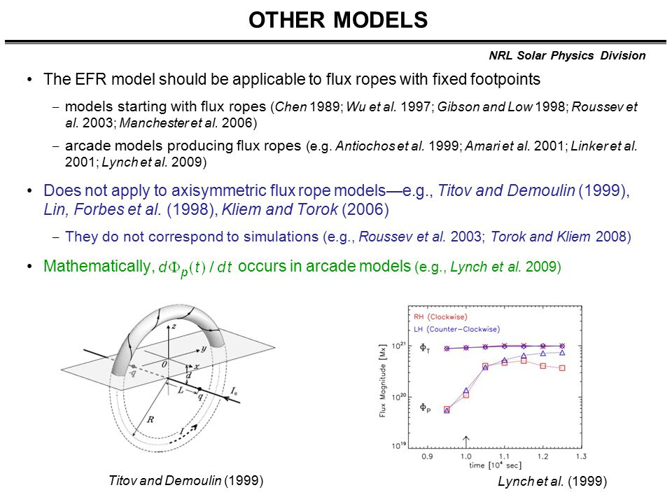 NRL Solar Physics Division OTHER MODELS The EFR model should be applicable to flux ropes with fixed footpoints ‒ models starting with flux ropes (Chen 1989; Wu et al.