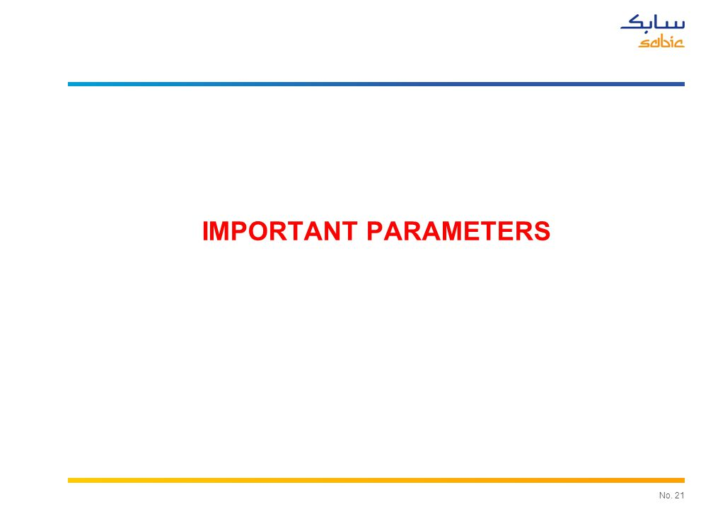No. 21 IMPORTANT PARAMETERS