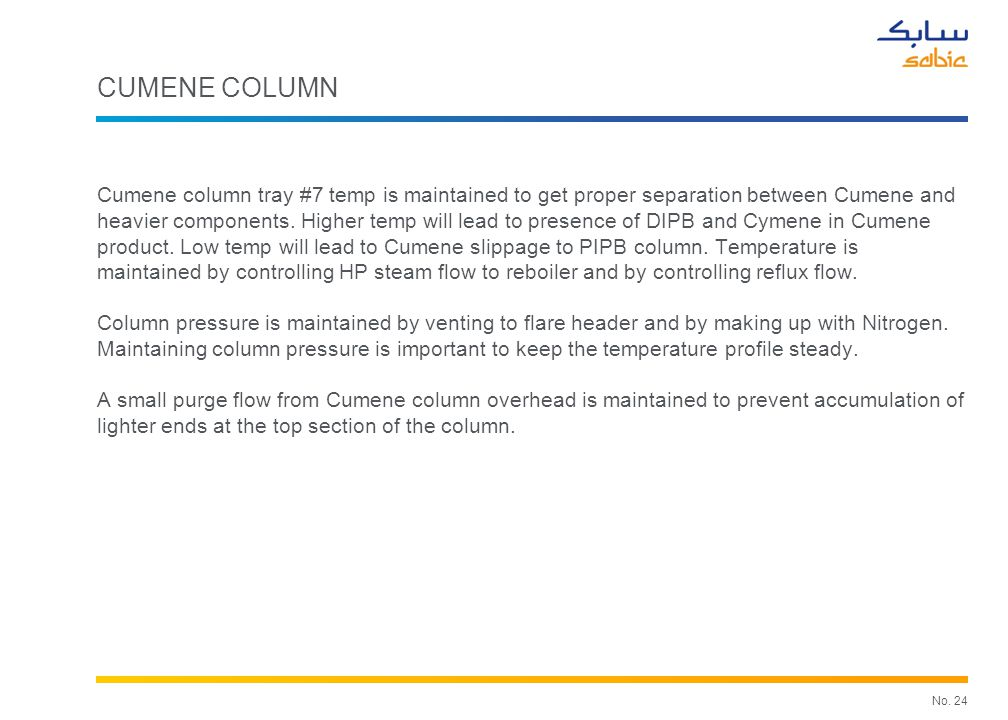 No. 24 CUMENE COLUMN Cumene column tray #7 temp is maintained to get proper separation between Cumene and heavier components. Higher temp will lead to