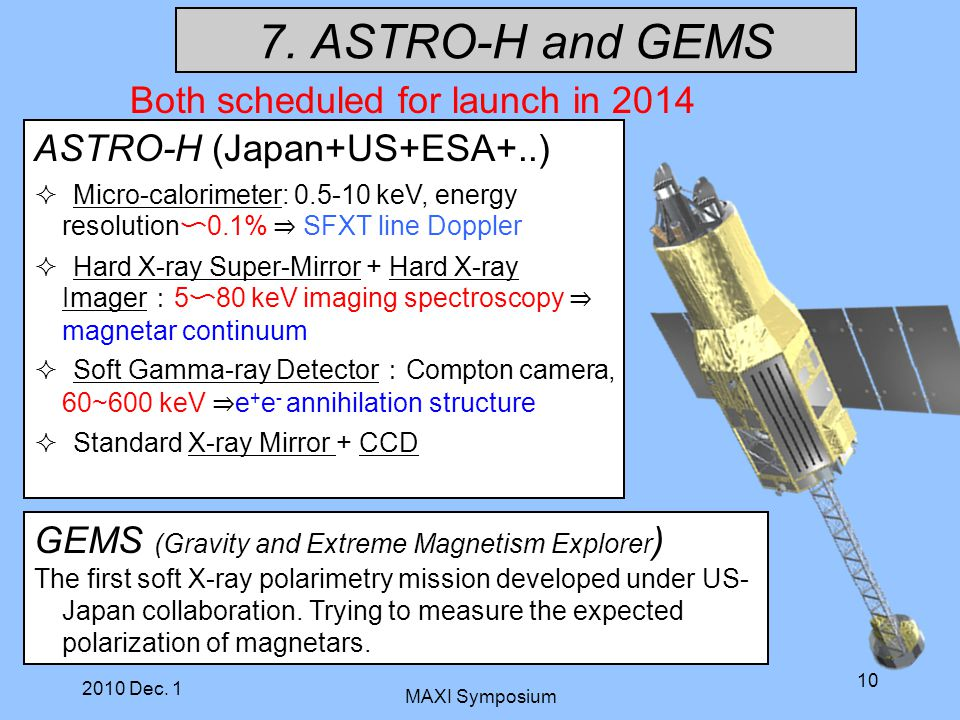 7. ASTRO-H and GEMS Both scheduled for launch in 2014 ASTRO-H (Japan+US+ESA+..)  Micro-calorimeter: 0.5-10 keV, energy resolution 〜 0.1% ⇒ SFXT line