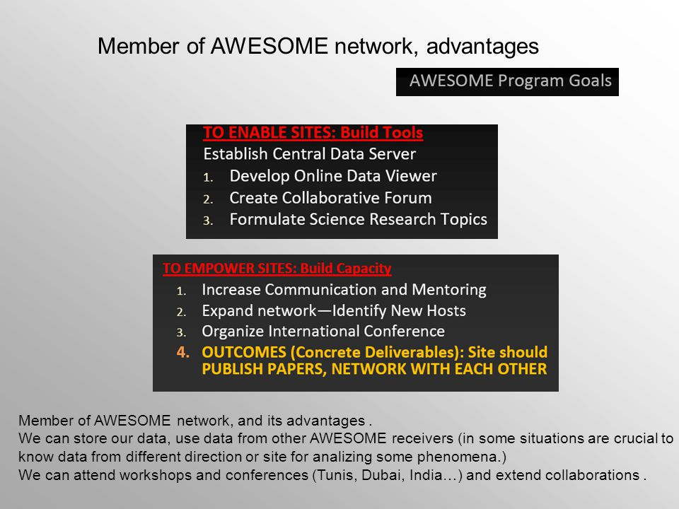 Member of AWESOME network, advantages Member of AWESOME network, and its advantages. We can store our data, use data from other AWESOME receivers (in