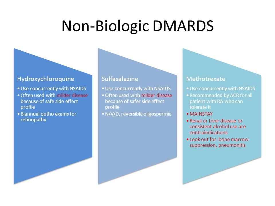 Non-Biologic DMARDS Hydroxychloroquine Use concurrently with NSAIDS Often used with milder disease because of safe side effect profile Biannual optho exams for retinopathy Sulfasalazine Use concurrently with NSAIDS Often used with milder disease because of safer side effect profile N/V/D, reversible oligospermia Methotrexate Use concurrently with NSAIDS Recommended by ACR for all patient with RA who can tolerate it MAINSTAY Renal or Liver disease or consistent alcohol use are contraindications Look out for: bone marrow suppression, pneumonitis
