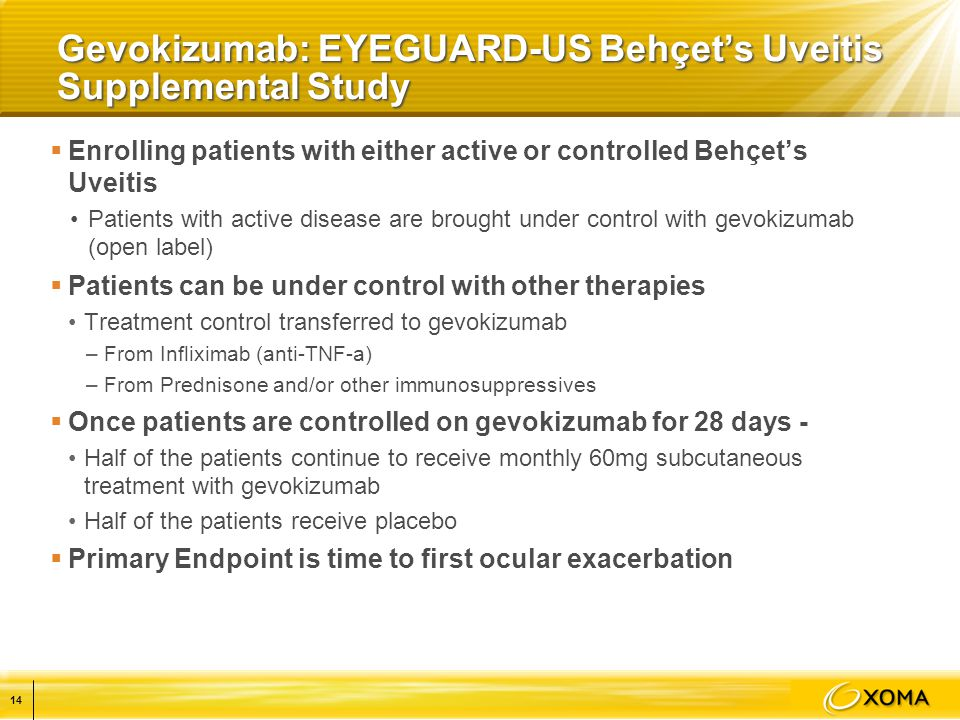 Gevokizumab: EYEGUARD-US Behçet's Uveitis Supplemental Study  Enrolling patients with either active or controlled Behçet's Uveitis Patients with active disease are brought under control with gevokizumab (open label)  Patients can be under control with other therapies Treatment control transferred to gevokizumab –From Infliximab (anti-TNF-a) –From Prednisone and/or other immunosuppressives  Once patients are controlled on gevokizumab for 28 days - Half of the patients continue to receive monthly 60mg subcutaneous treatment with gevokizumab Half of the patients receive placebo  Primary Endpoint is time to first ocular exacerbation 14