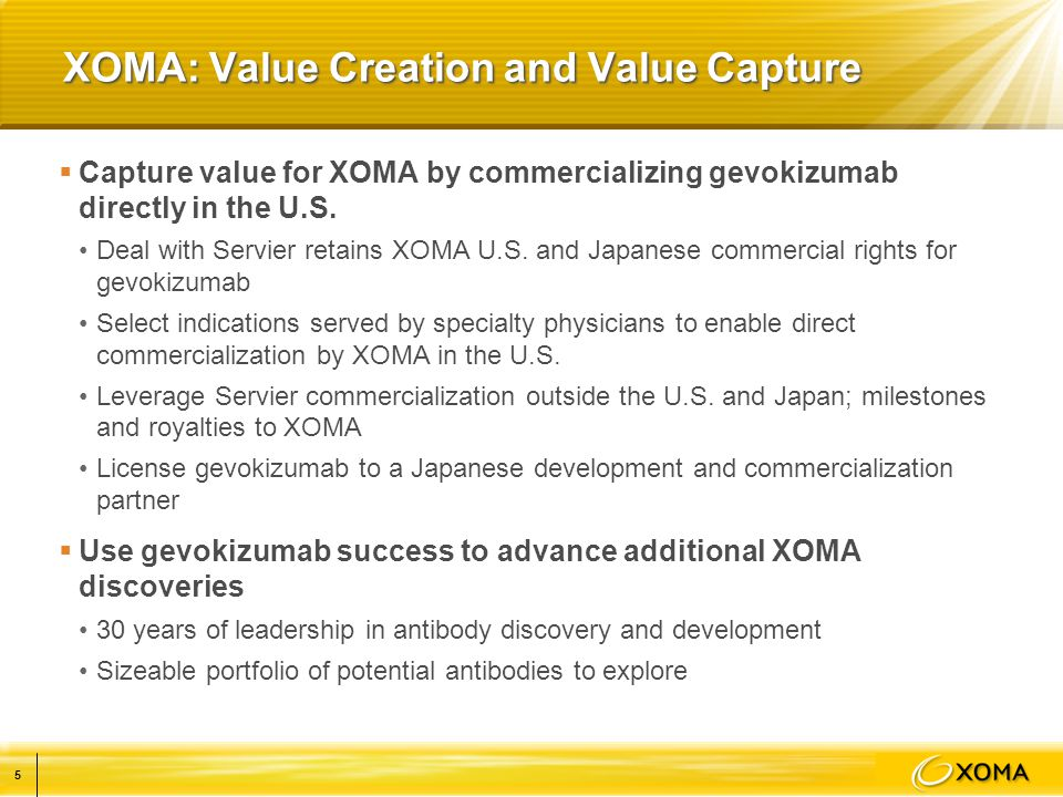 XOMA: Value Creation and Value Capture  Capture value for XOMA by commercializing gevokizumab directly in the U.S.