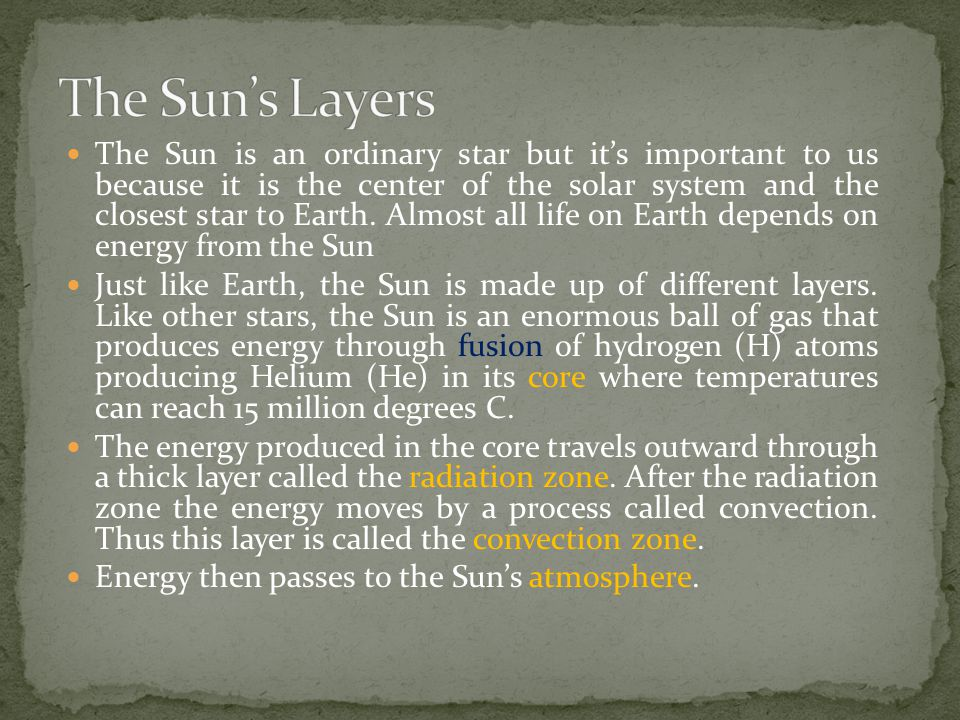 The photosphere is the lowest layer (inner layer) of the Sun's atmosphere and the layer from which visible light is given off.