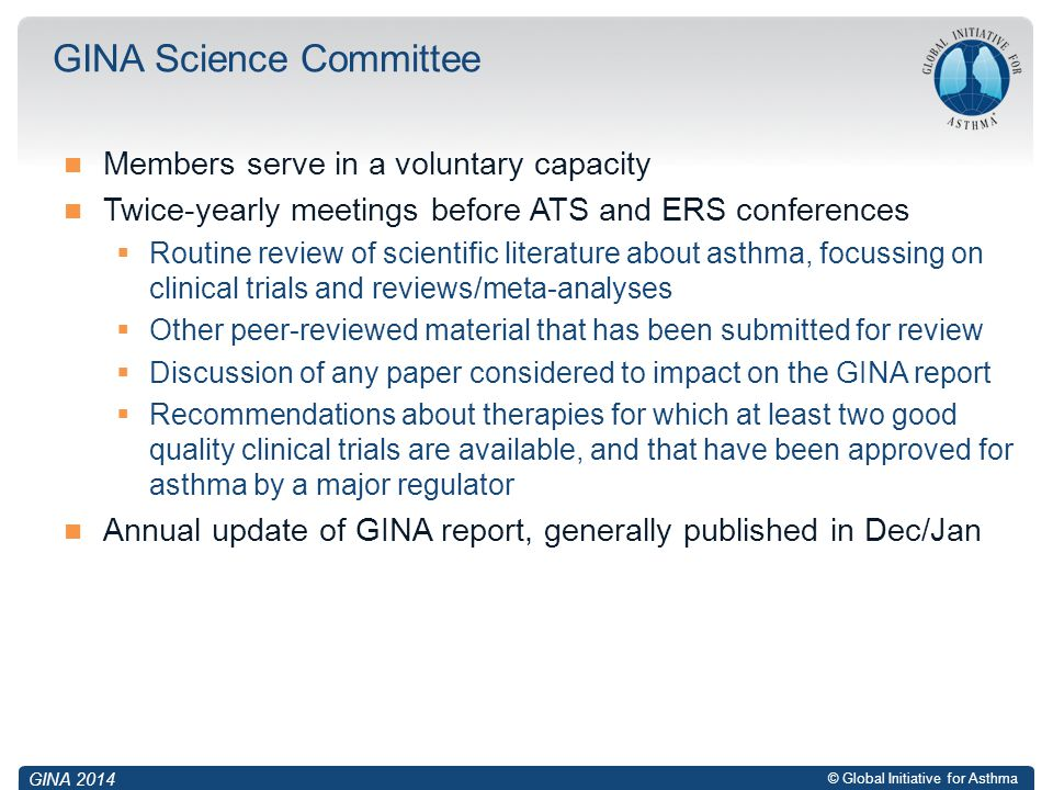 © Global Initiative for Asthma Members serve in a voluntary capacity Twice-yearly meetings before ATS and ERS conferences  Routine review of scientif