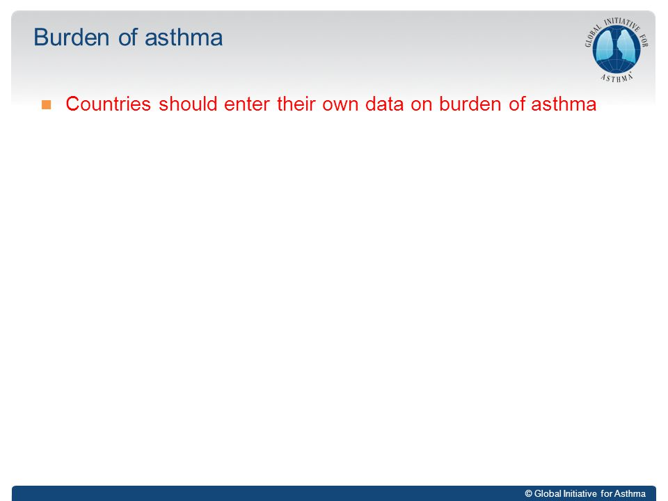 © Global Initiative for Asthma Countries should enter their own data on burden of asthma Burden of asthma