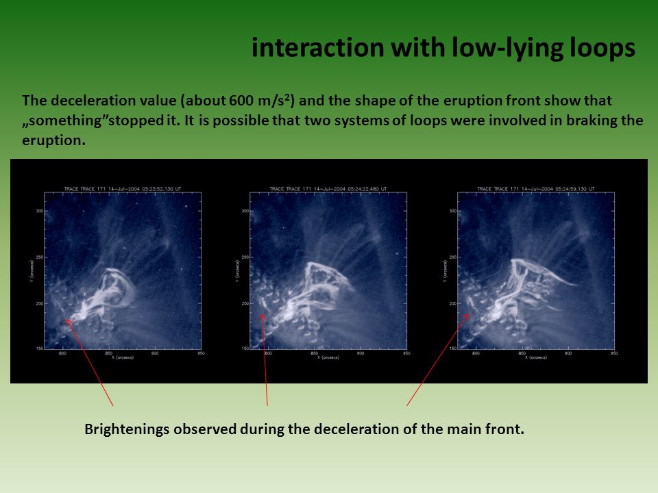 Brightenings observed during the deceleration of the main front.