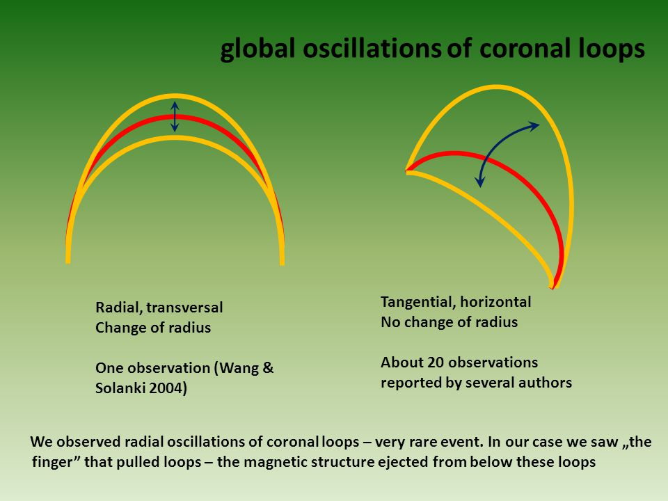 global oscillations of coronal loops Radial, transversal Change of radius One observation (Wang & Solanki 2004) Tangential, horizontal No change of radius About 20 observations reported by several authors We observed radial oscillations of coronal loops – very rare event.