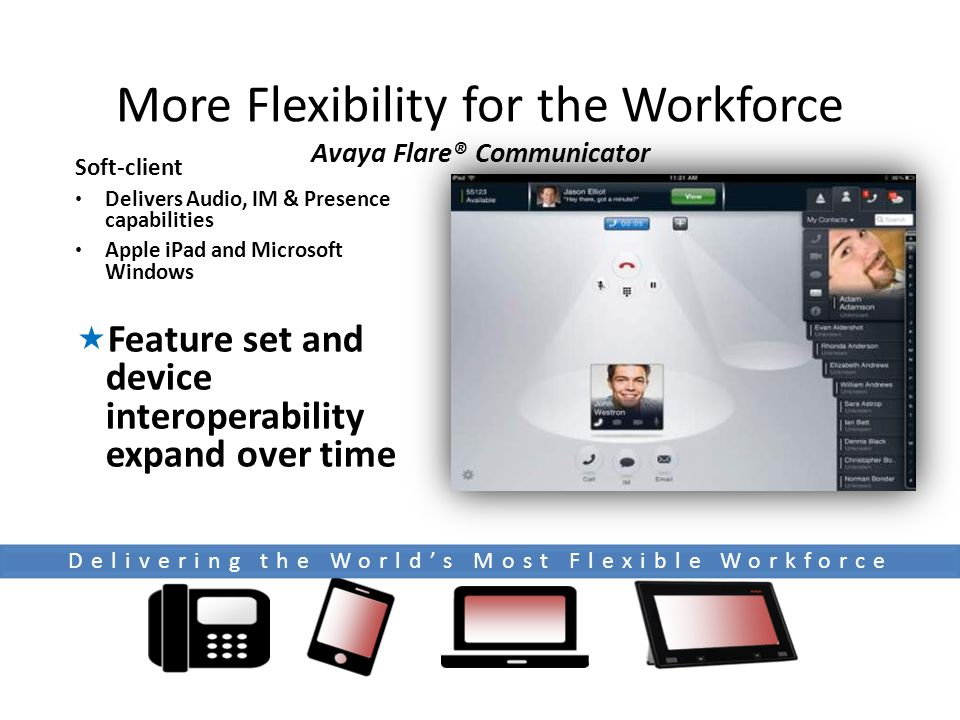 More Flexibility for the Workforce Avaya Flare® Communicator Soft-client Delivers Audio, IM & Presence capabilities Apple iPad and Microsoft Windows  Feature set and device interoperability expand over time Delivering the World's Most Flexible Workforce