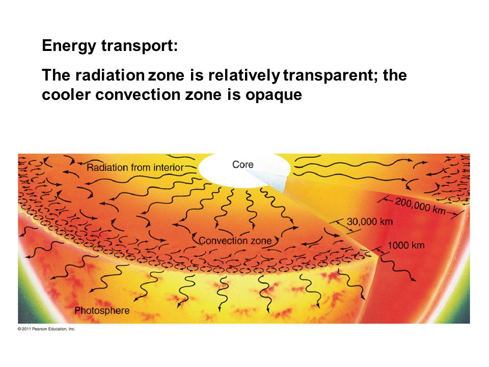 Energy transport: The radiation zone is relatively transparent; the cooler convection zone is opaque