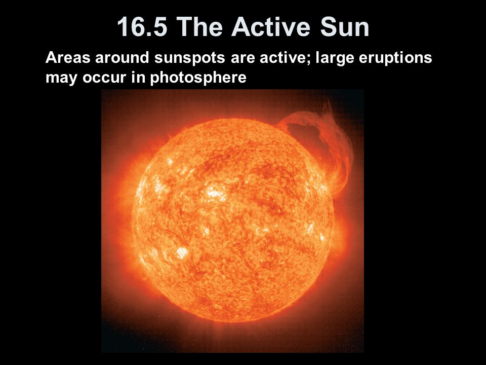 Areas around sunspots are active; large eruptions may occur in photosphere 16.5 The Active Sun