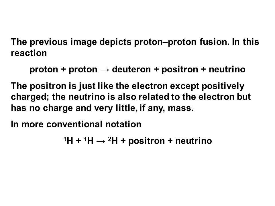 The previous image depicts proton–proton fusion. In this reaction proton + proton → deuteron + positron + neutrino The positron is just like the elect