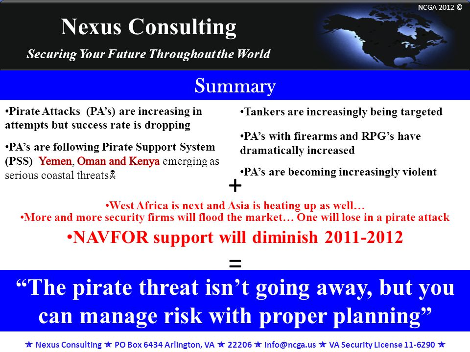 Nexus Consulting Securing Your Future Throughout the World NCGA 2012 © Summary More and more security firms will flood the market… One will lose in a