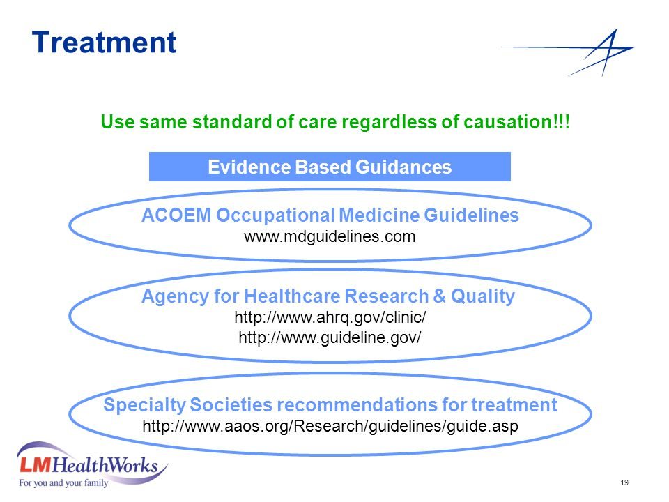 19 Treatment Use same standard of care regardless of causation!!.