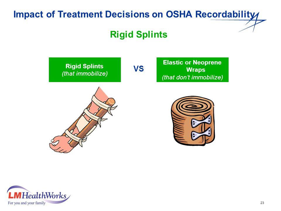 23 Rigid Splints (that immobilize) Elastic or Neoprene Wraps (that don't immobilize) VS Impact of Treatment Decisions on OSHA Recordability