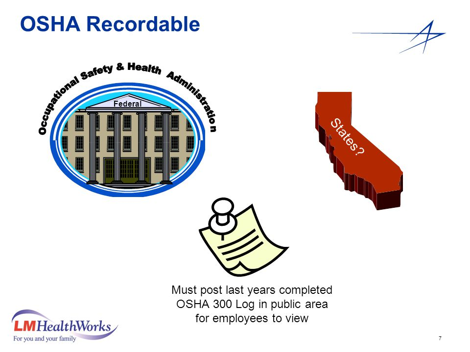 7 OSHA Recordable Must post last years completed OSHA 300 Log in public area for employees to view Federal States