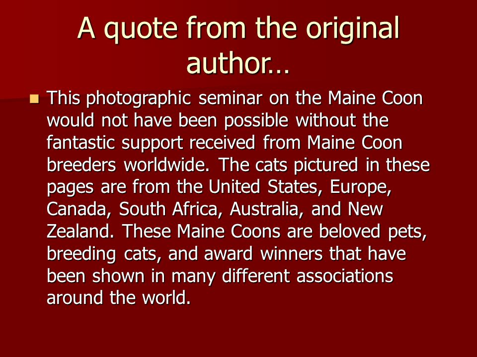 The GCCF Standard states Since the Maine Coon is slow to mature (taking up to 4 years), allowance should be made as to their size when judging younger cats.