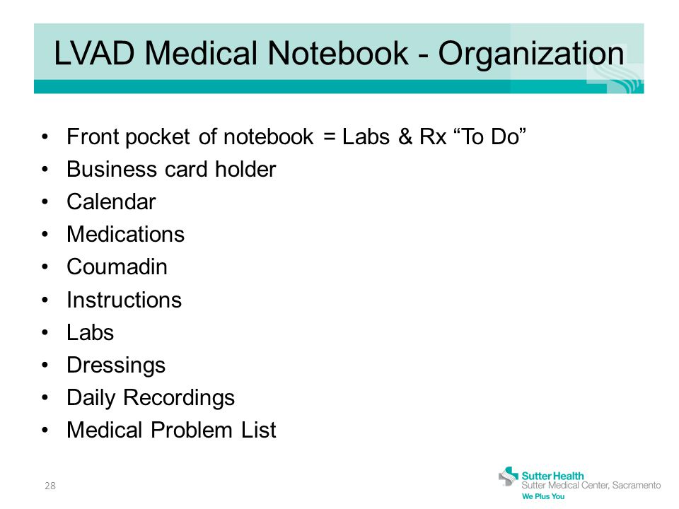 LVAD Medical Notebook - Organization Front pocket of notebook = Labs & Rx To Do Business card holder Calendar Medications Coumadin Instructions Labs Dressings Daily Recordings Medical Problem List 28