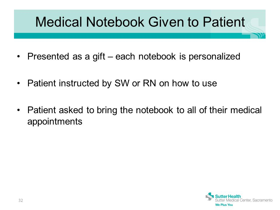 Medical Notebook Given to Patient Presented as a gift – each notebook is personalized Patient instructed by SW or RN on how to use Patient asked to bring the notebook to all of their medical appointments 32