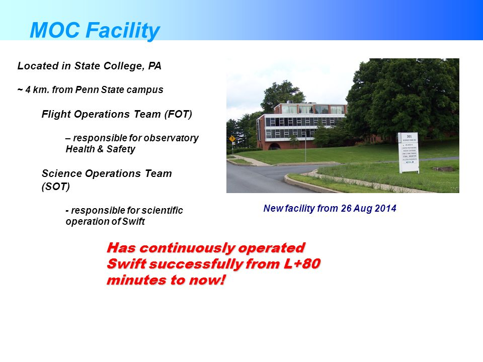 MOC Facility Has continuously operated Swift successfully from L+80 minutes to now! Located in State College, PA ~ 4 km. from Penn State campus Flight