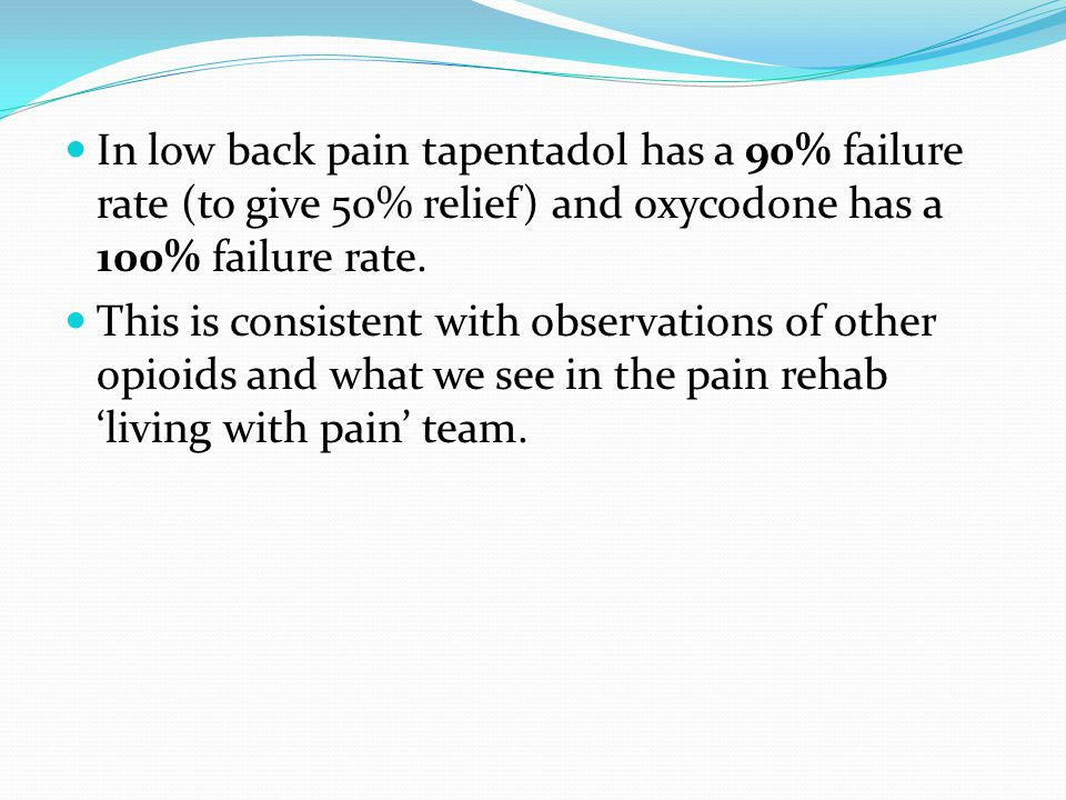 In low back pain tapentadol has a 90% failure rate (to give 50% relief) and oxycodone has a 100% failure rate.