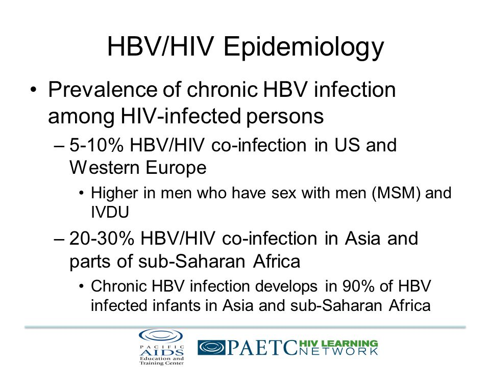 Interaction of HBV/HIV Coinfection In era of highly active antiretroviral therapy (ART) –Declining rates of opportunistic infections –Prolonged lifespan for HIV-infected persons –Increase in other diseases causing morbidity and mortality End-stage liver disease (ESLD) from HBV and HCV Most frequent cause of death from non-AIDS defining condition Weber, R et al.
