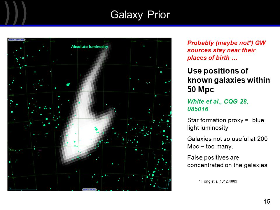 ))) 15 Galaxy Prior Probably (maybe not*) GW sources stay near their places of birth … Use positions of known galaxies within 50 Mpc White et al., CQG 28, 085016 Star formation proxy = blue light luminosity Galaxies not so useful at 200 Mpc – too many.