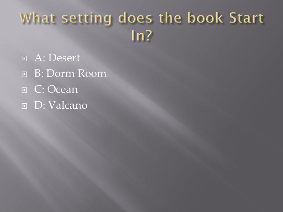  A: Desert  B: Dorm Room  C: Ocean  D: Valcano