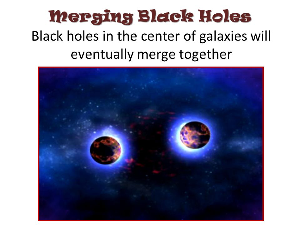 Black holes in the center of galaxies will eventually merge together Merging Black Holes