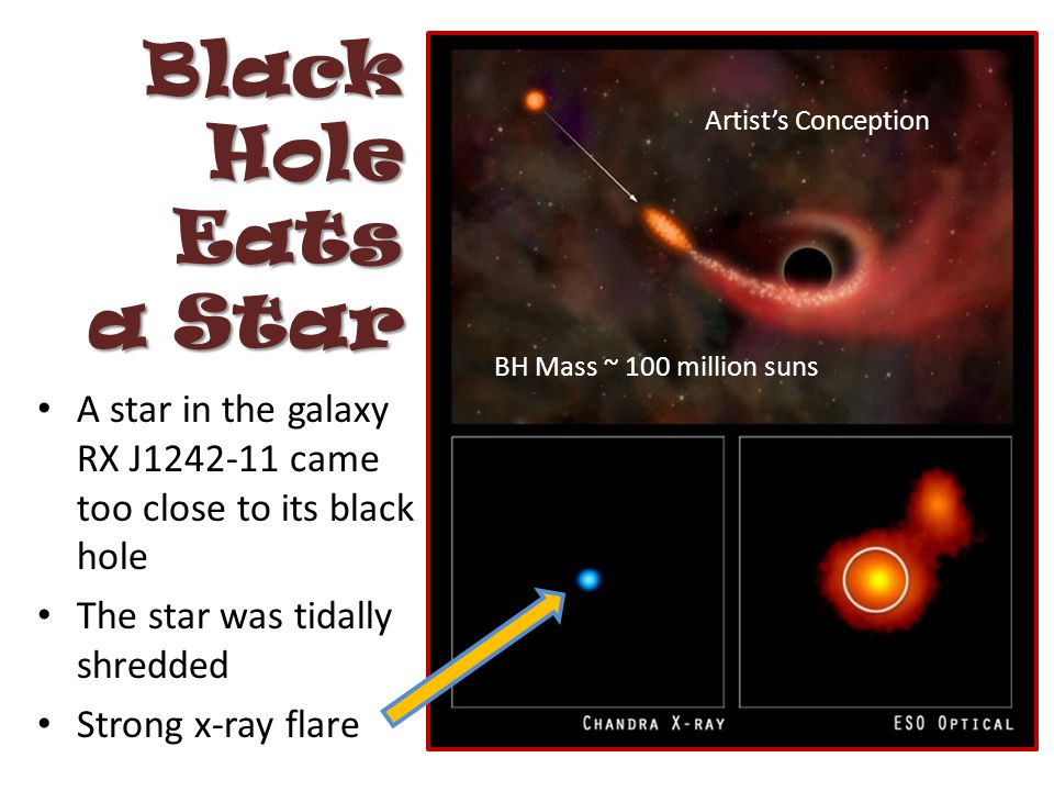 Black Hole Eats a Star A star in the galaxy RX J1242-11 came too close to its black hole The star was tidally shredded Strong x-ray flare Artist's Conception BH Mass ~ 100 million suns