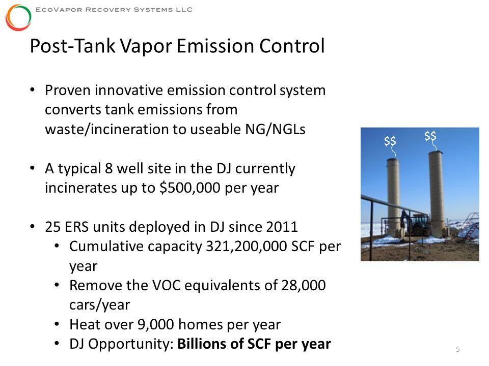 5 Proven innovative emission control system converts tank emissions from waste/incineration to useable NG/NGLs A typical 8 well site in the DJ current