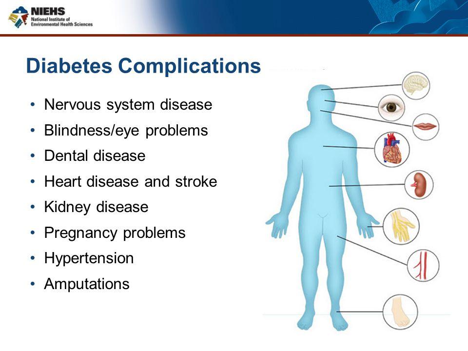 Diabetes Complications Nervous system disease Blindness/eye problems Dental disease Heart disease and stroke Kidney disease Pregnancy problems Hyperte